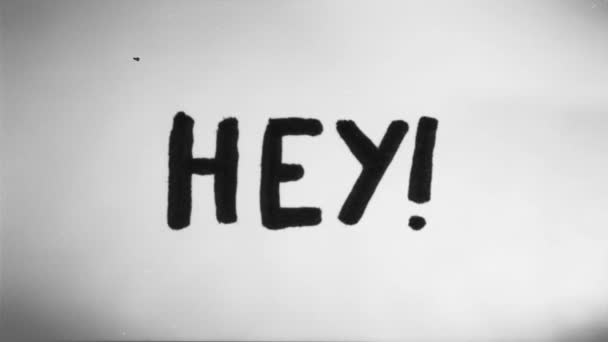 Hand Drawn Animation Of Hey Sign Loop/ 4k animation of a doodle hey friendly message sign hand drawn made looping