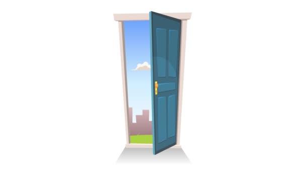 Ajtónyitó with háttér/4k animáció egy rajzfilm bejárati ajtó nyitó és záró a táj és a fekete réteg változat
