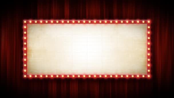 Theater- oder Kinohintergrund mit Marktzeichen und roten Vorhängen / 4k-Animation eines Kino- oder Breitbandtheaterhintergrundes mit Marktzeichen und roten Vorhängen