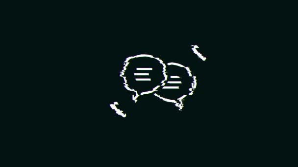 Social Network Speech Bubbles Icon Technology Glitch Fx / 4k Animation einer abstrakten Chat-Sprechblase Social Network Icon mit Glitch-Texturen und digitalen Artefakten und Rauscheffekten