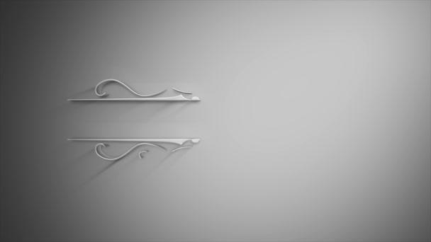 White Soft Banner Pozadí odhalit animace / 4k animace elegantní ručně kreslené bílé banner pozadí s ornamentální a květinové vzory prvky odhalující
