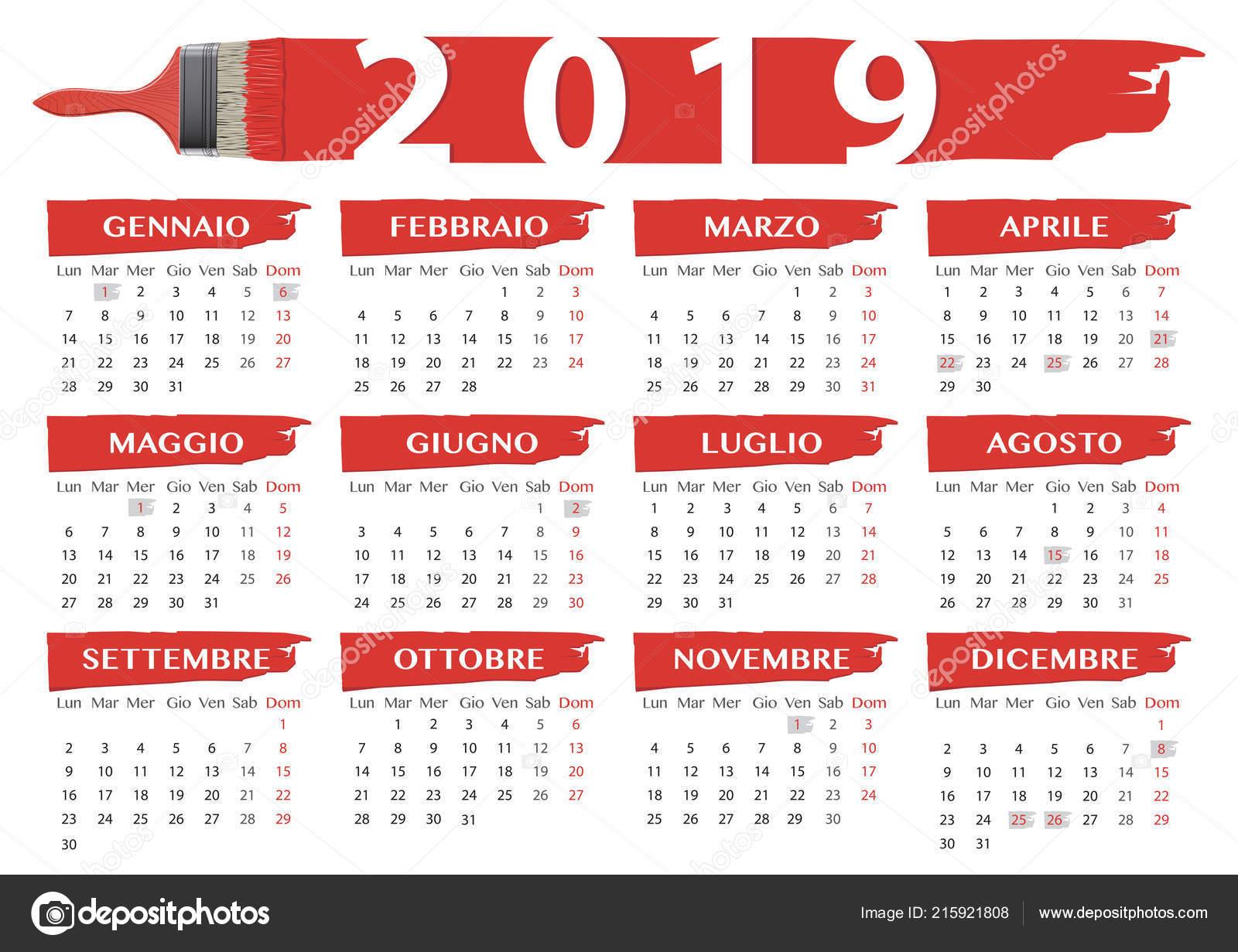 Calendario Con Festivita 2019.2019 Spazzole Rossi Stile Calendario Con Festivita Religiosa