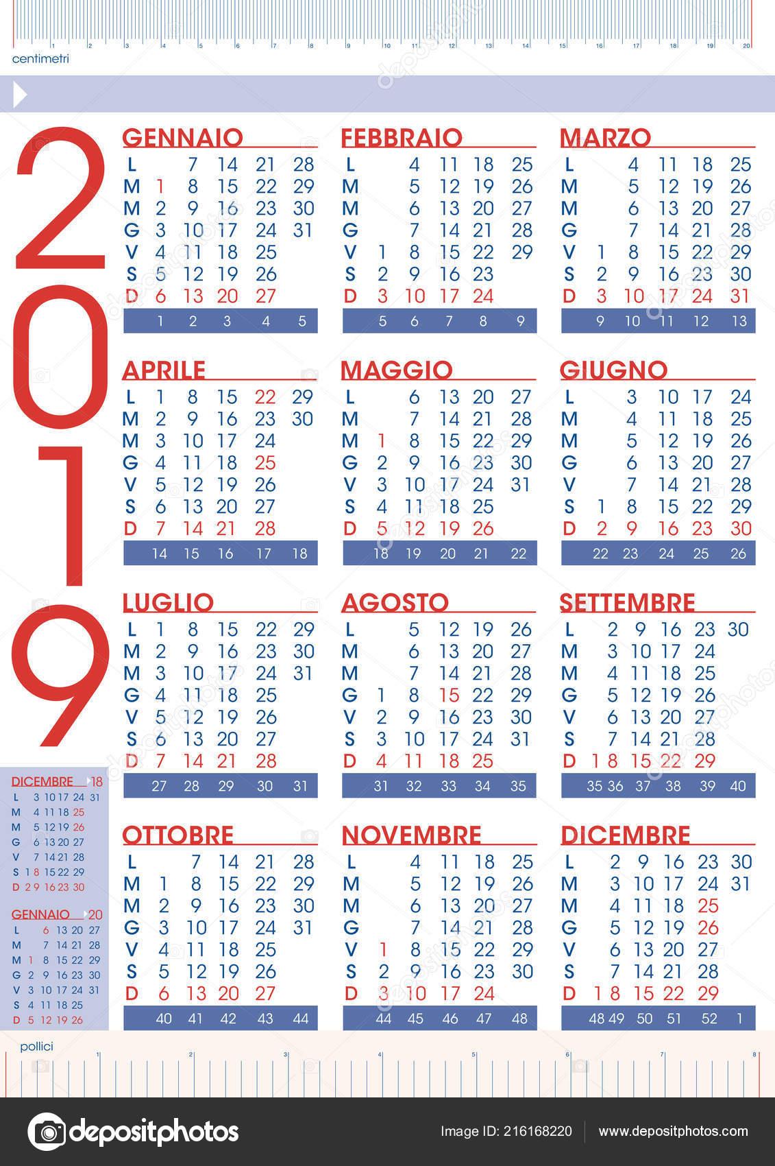 Calendario Numero Settimana 2019.Calendario 2019 Regole Commerciale Lingua Italiana Con