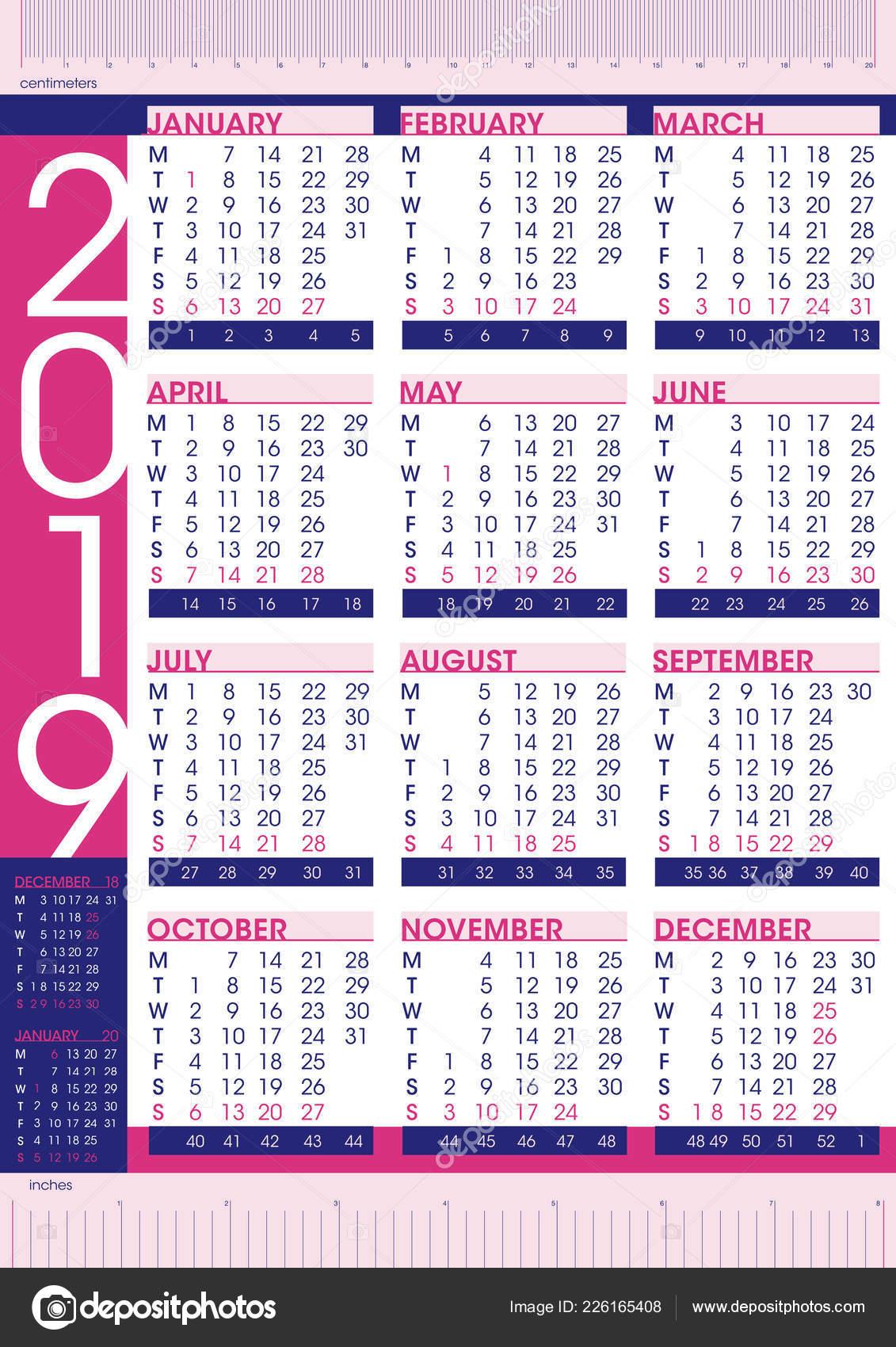 Calendario Con Numero Settimane.Business Commerciale 2019 Calendario Stile Semplice Con