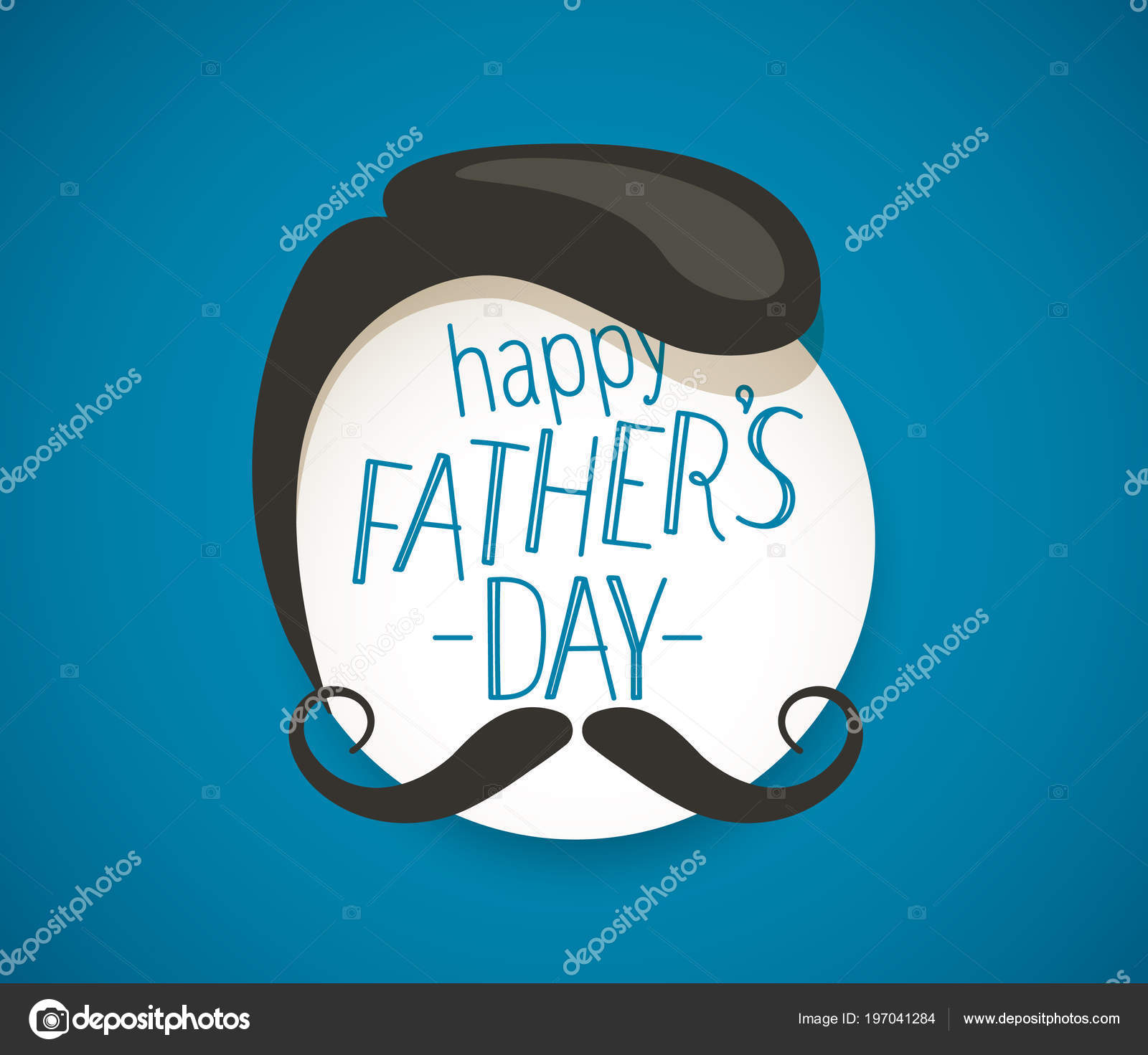Happy Fathers Day Greeting Card Mustache Lettering Vector Stock