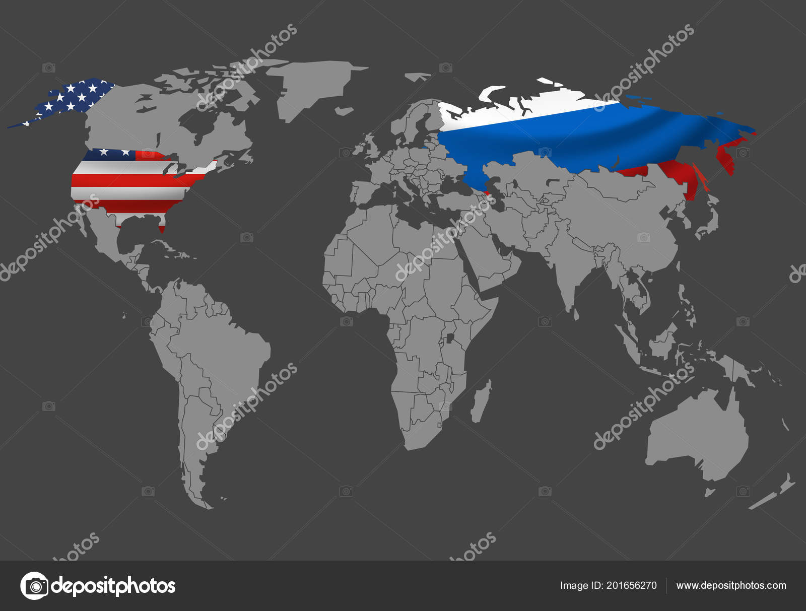 World Map Vector Illustration Infographic Template Russia Usa