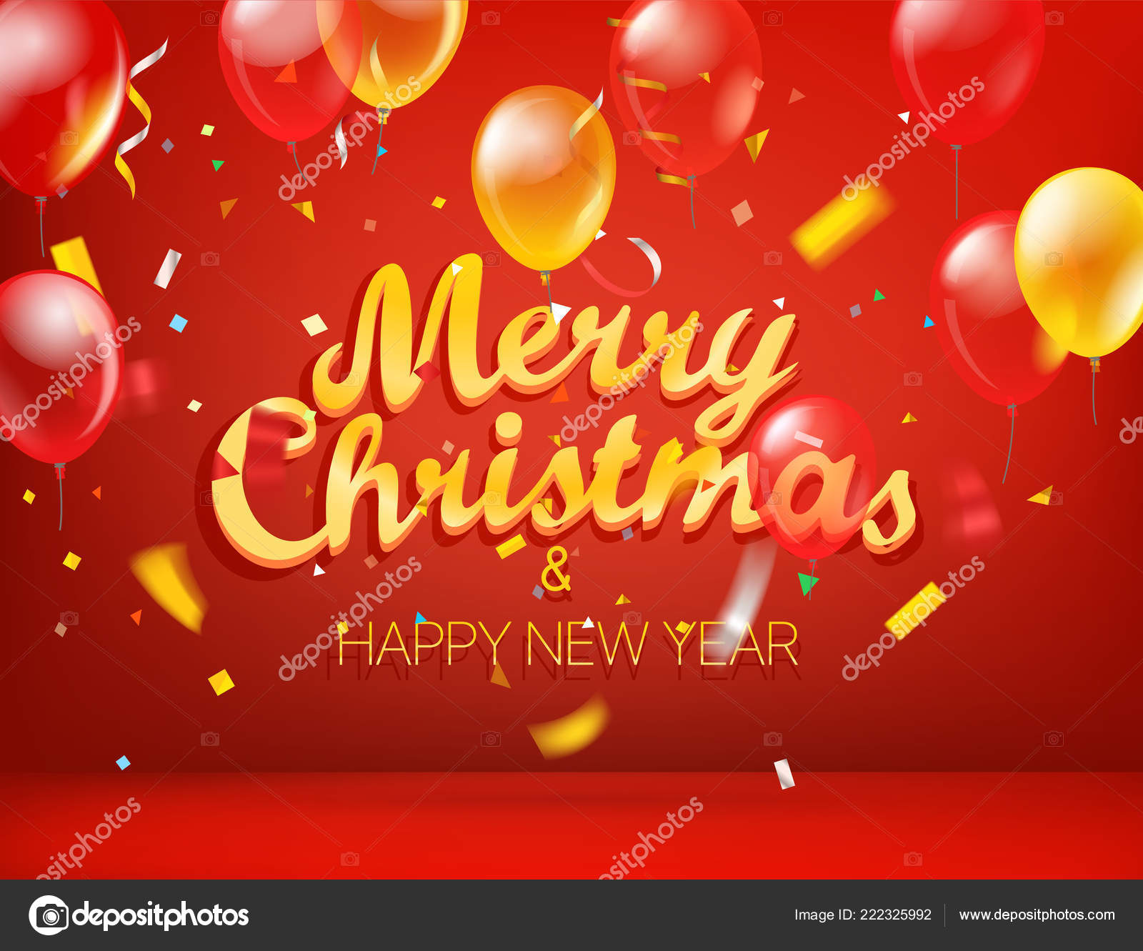 merry christmas happy new year greeting card horizontal vector illustration stock vector