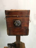 close up of vintage wooden camera