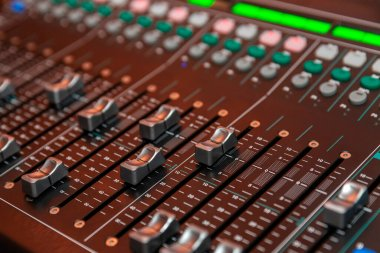 Sound mixer. Close-up. DJ console. Holidays and events.