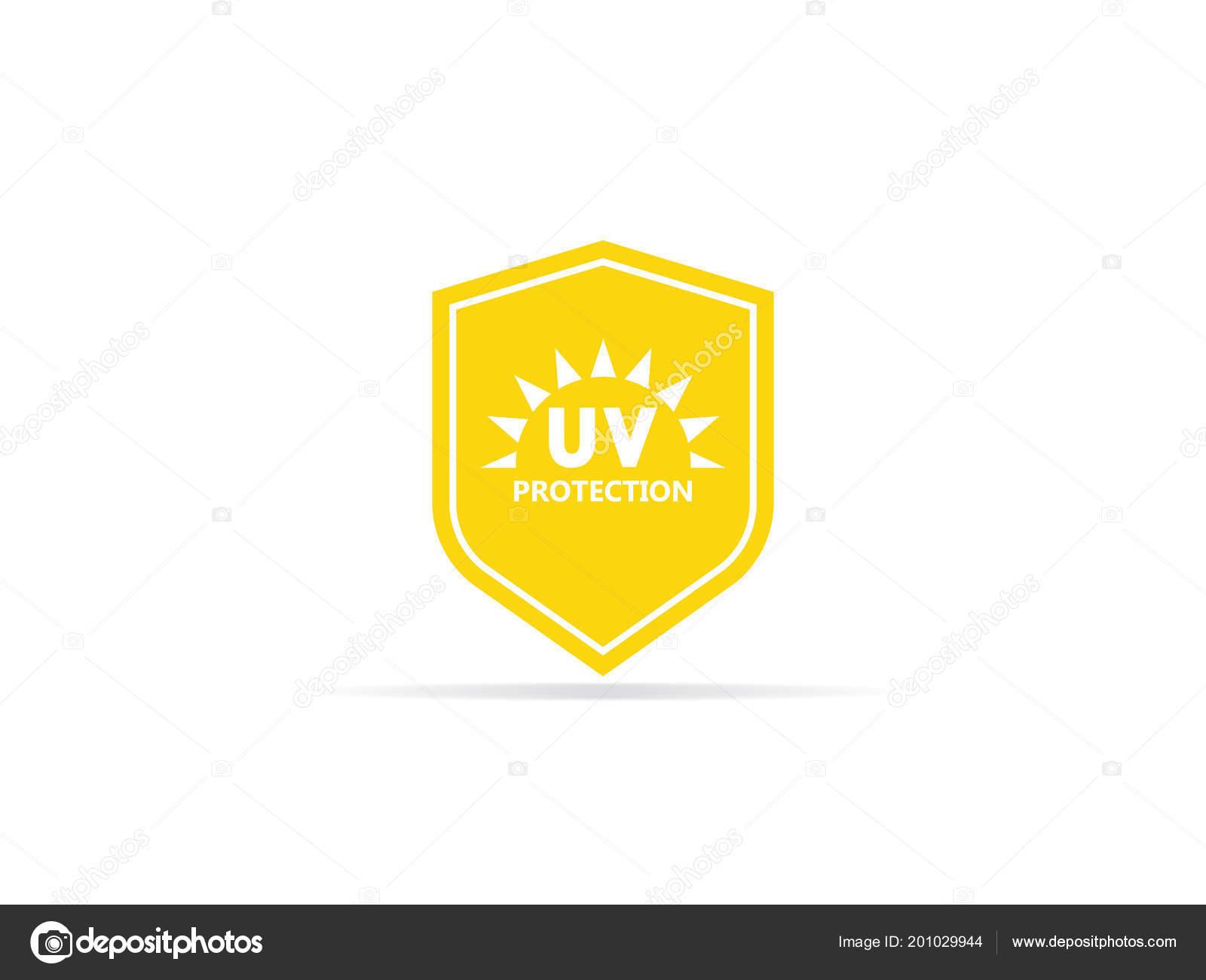 d58db6836082a0 Bescherming Pictogram Ultraviolette Straling Met Zon Schild Logo Symbool  Vectorillustratie — Stockvector