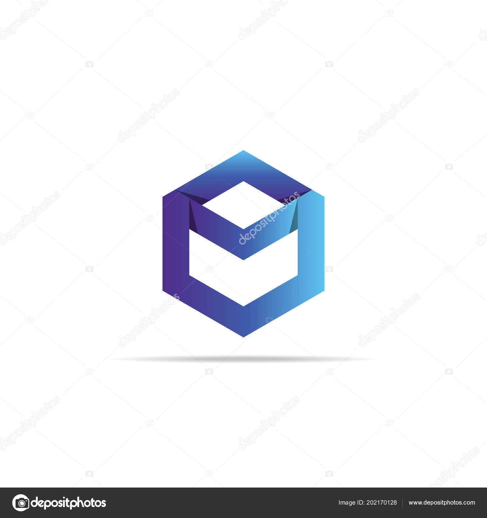 abstract geometric letter logo template infinity hexagonal element