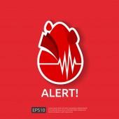 veszély szívroham riasztás szimbólum. szívverés, vagy beat impulzus ikonra. szív ellátás kardiológia. szív nap világképének a transzparensek és plakátok. Vektoros illusztráció.