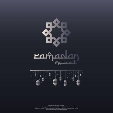 Ramadan Mubarak concept with vector typography and abstract islamic mandala for invitation banner, flayer, card background or cover. celebration of Ramadan Kareem or eid greeting design concept