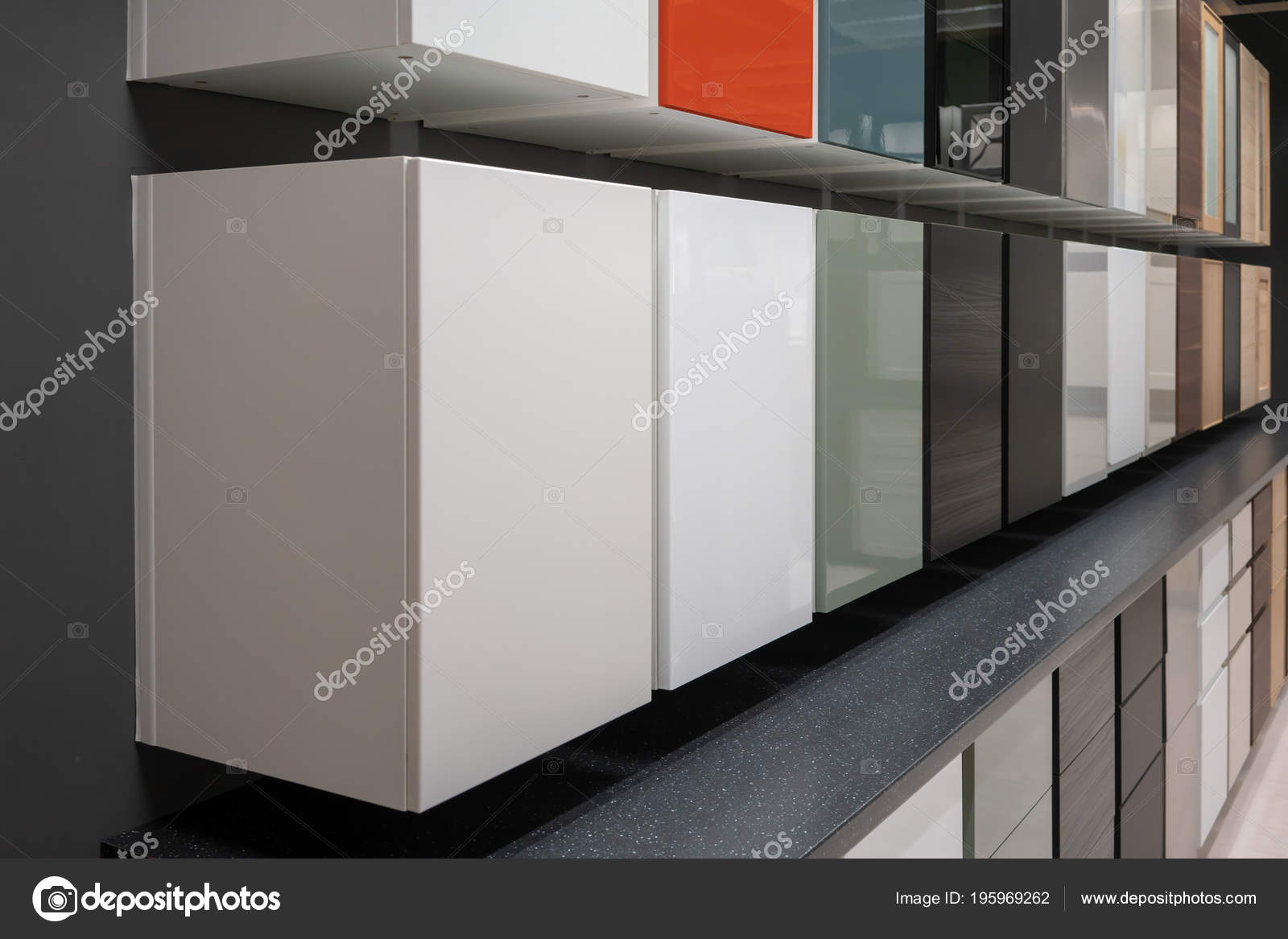 Row Various Cabinets Drawers Variety Color Mounted Wall