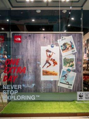 The North Face at Mega Bangna, Bangkok, Thailand, Jun 2, 2018 : Men's outdoor apparels conceptual window display at the store.