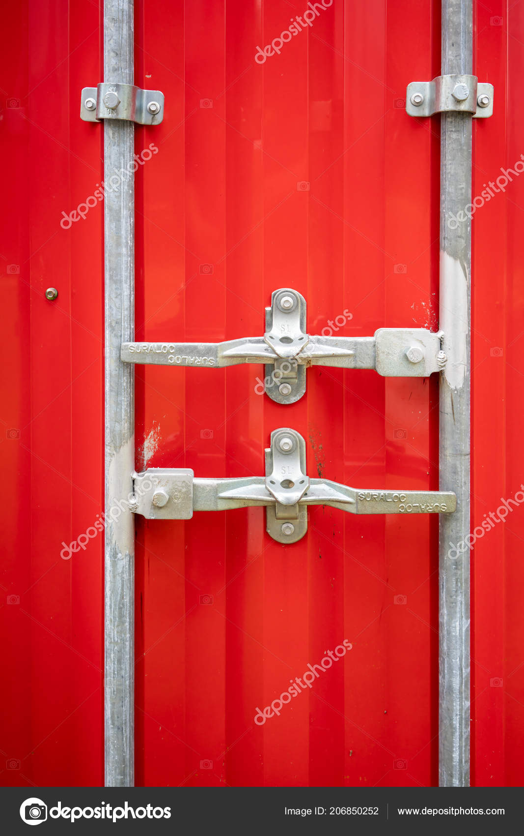 Closeup Red Shipping Storage Container Pad Locks — Stock