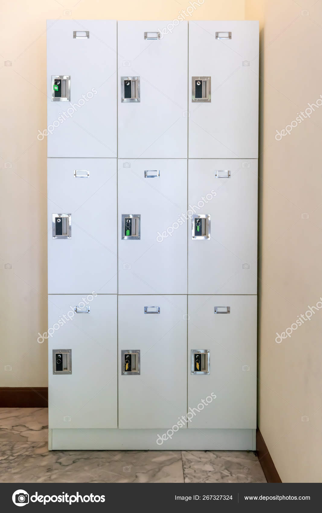 Close Up On Lockers In Gym Against White Background Stock Photo C V74 267327324