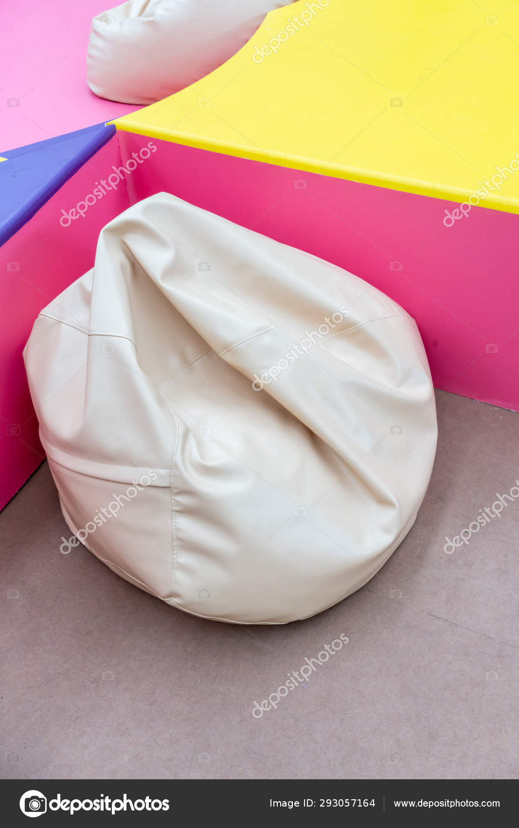 White Bean Bag In Colorful Playground Corner For Relax