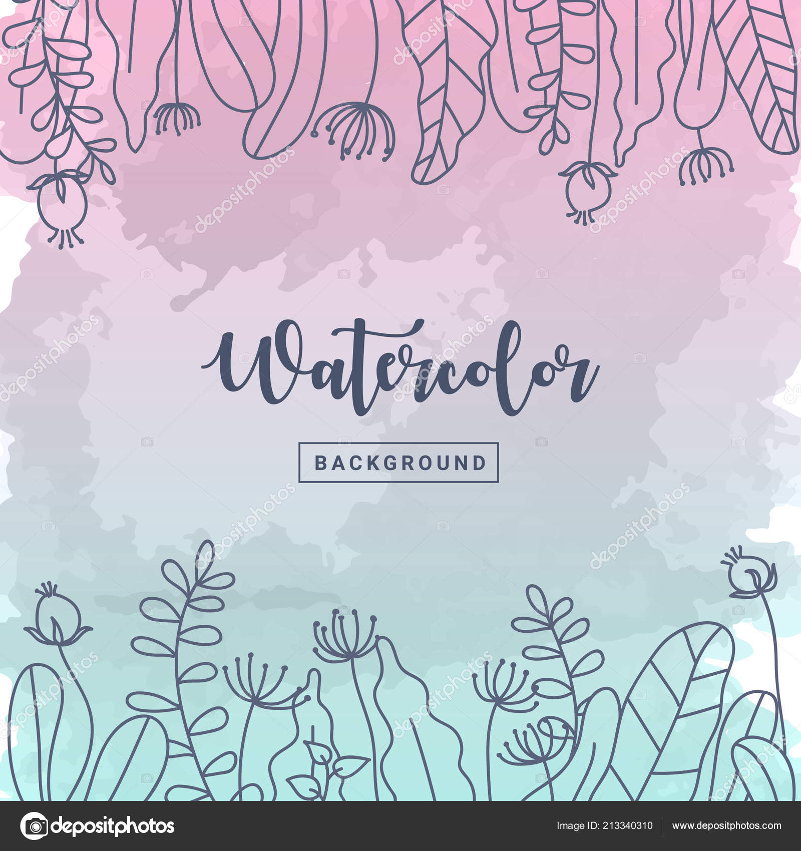 Pastel Watercolor Background Floral Flower Hand Drawn Pastel