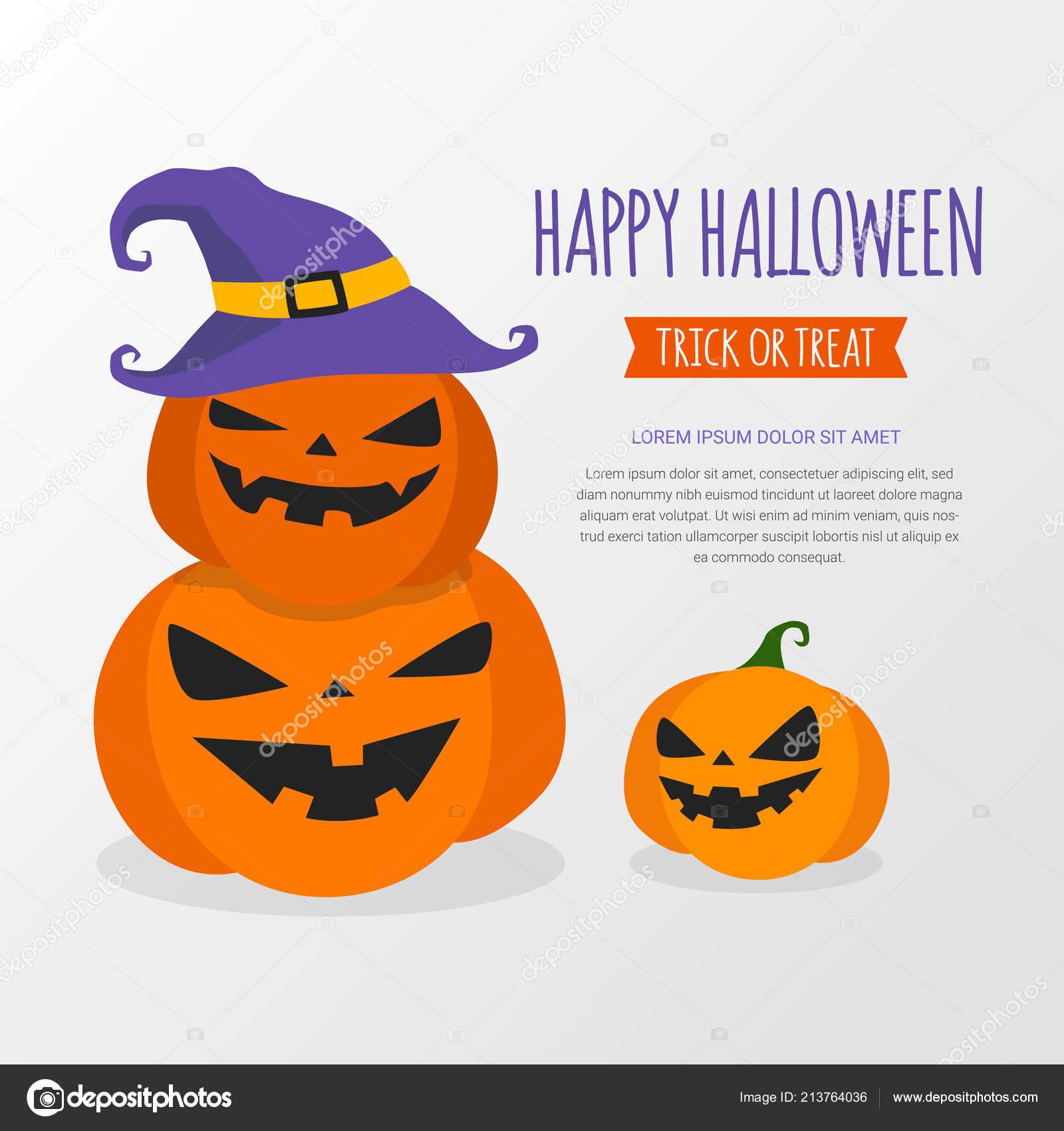 Felice Halloween banner progetto template. Zucca che porta il cappello  della strega su priorità bassa bianca. Halloween disegno carta cartolina  d auguri. 2f2be583743f