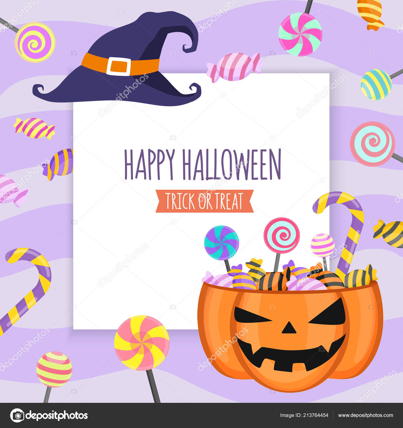 Happy Halloween Invitation Card Party Design Template White