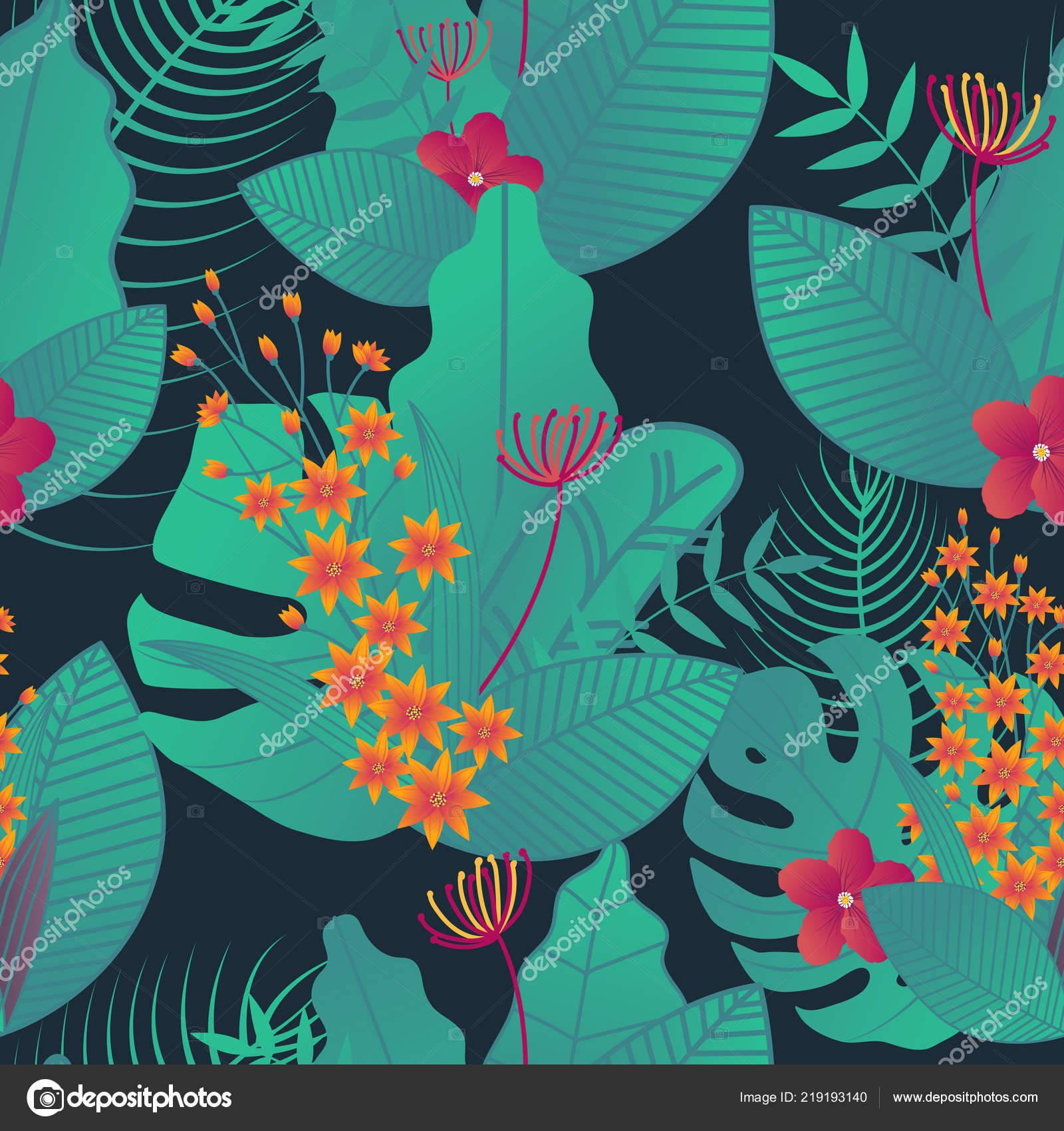 tropical leaves pattern seamless fabric prints pillowcase packaging