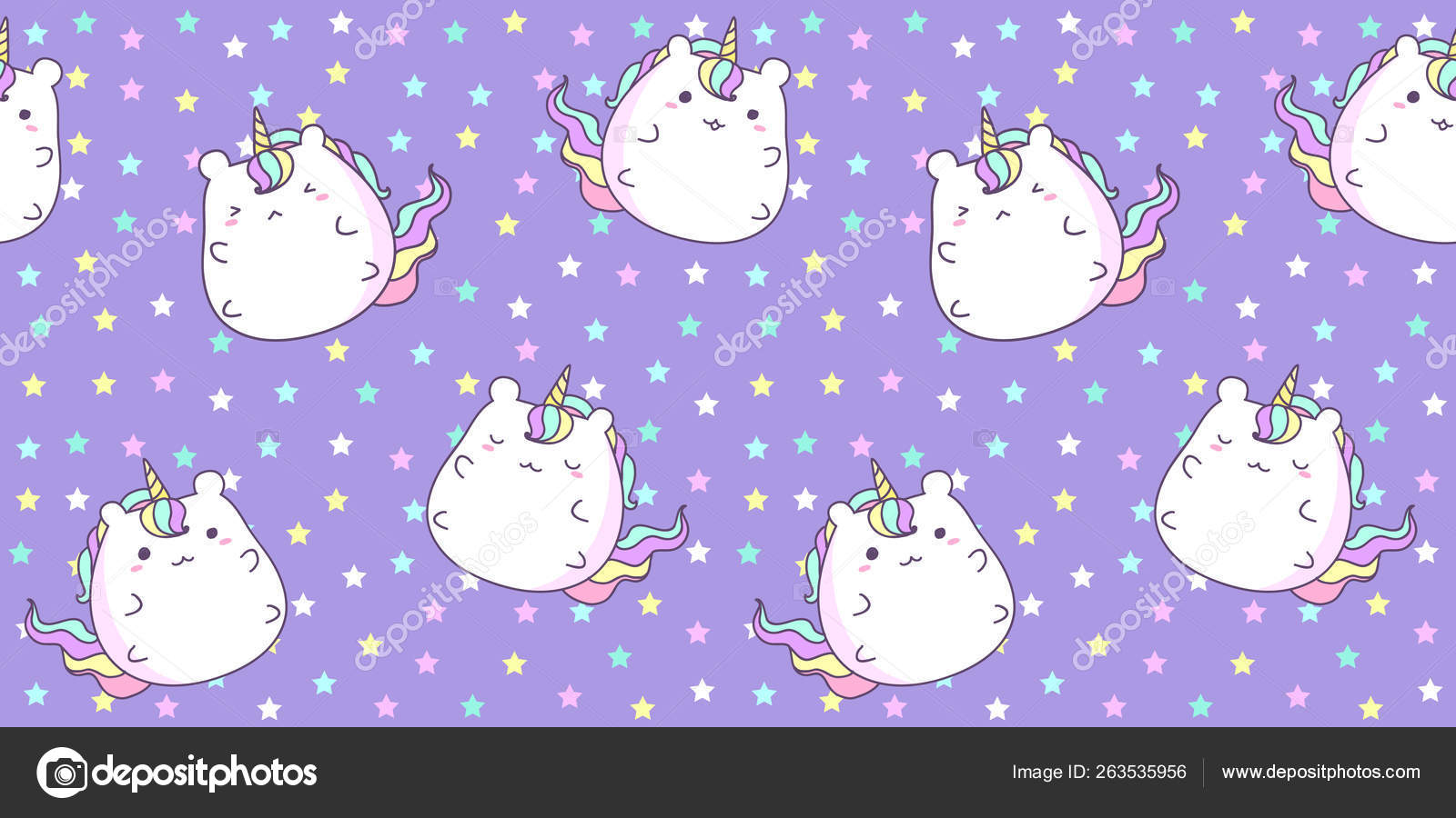 Pattern Seamless With Cute Unicorn On Star Background In