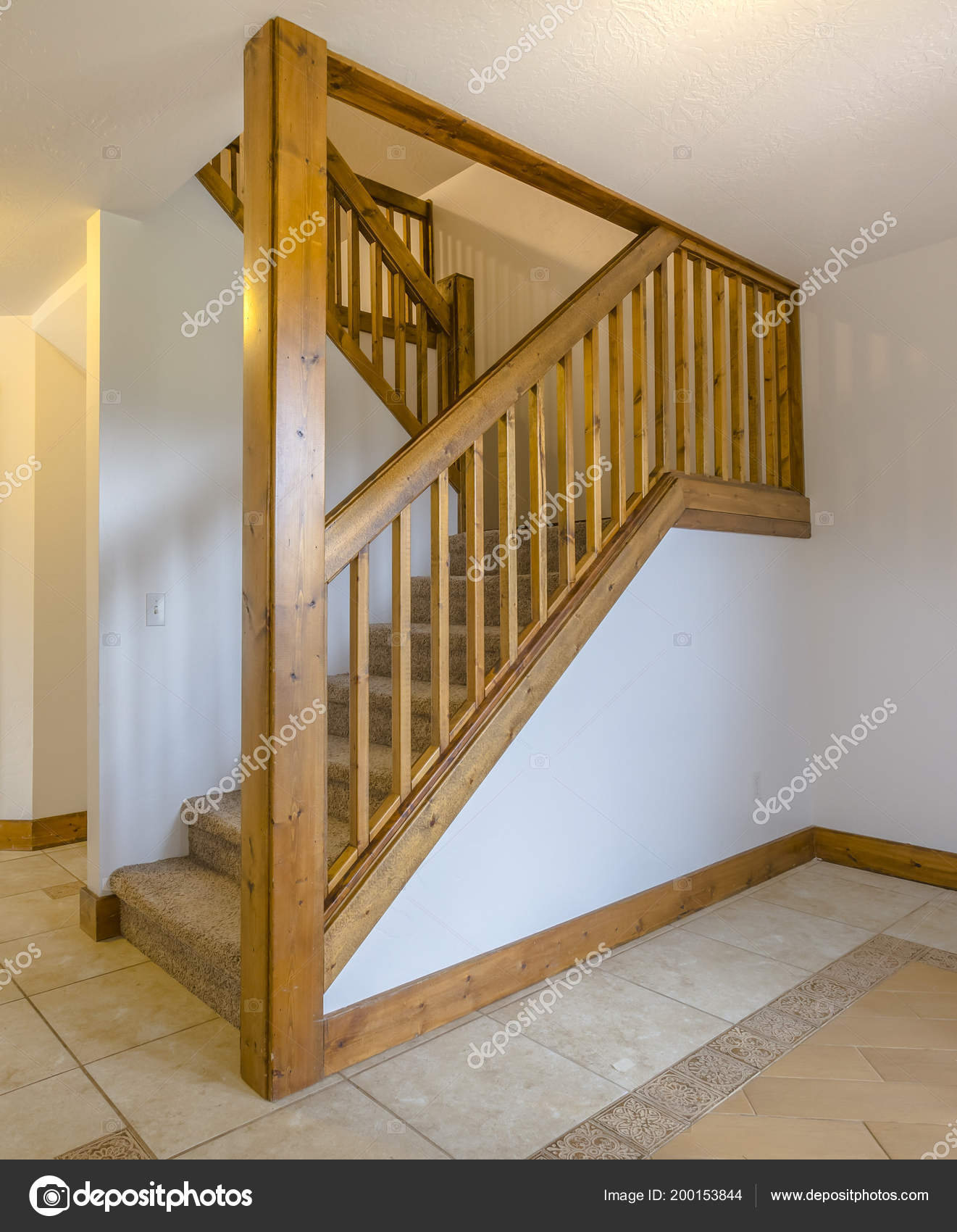 Wooden Banister And Column In Home Stock Photo