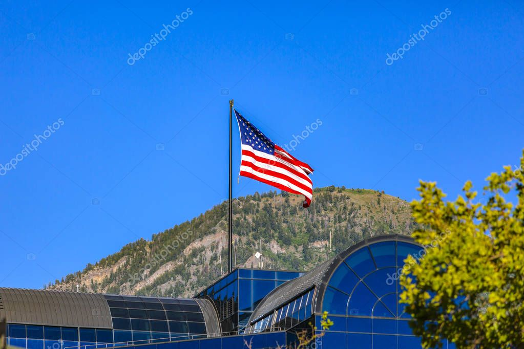American flag seen on top of building