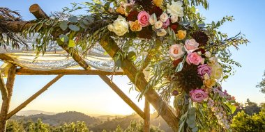 Lace and flowers on traditional Jewish Chuppah