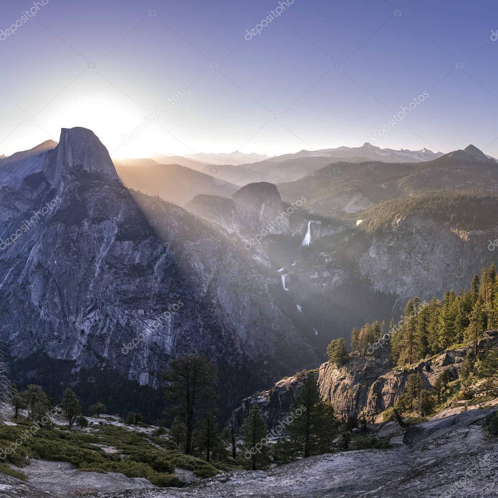 Impressive mountain and Falls at Yosemite CA