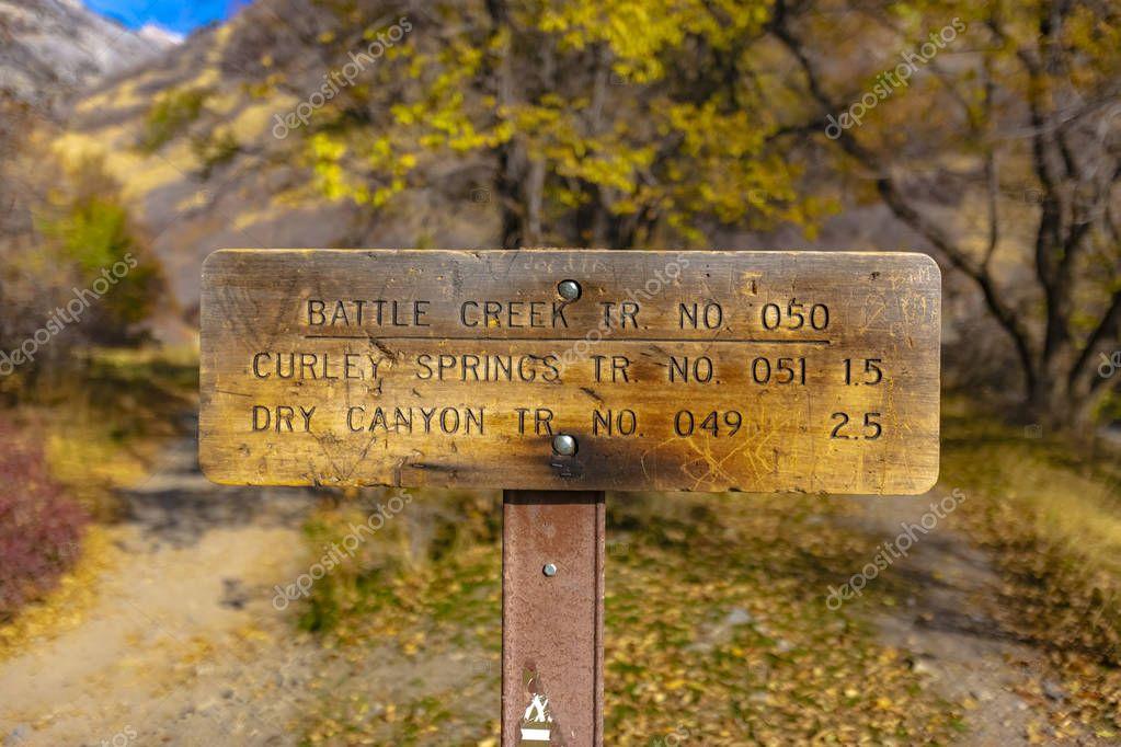 Battle Creek trailhead sign for the trail