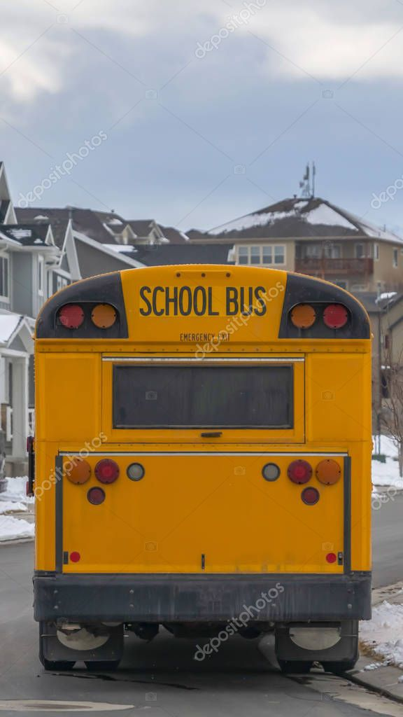 Vertical Rear view of a yellow school bus with a window and several signal lights