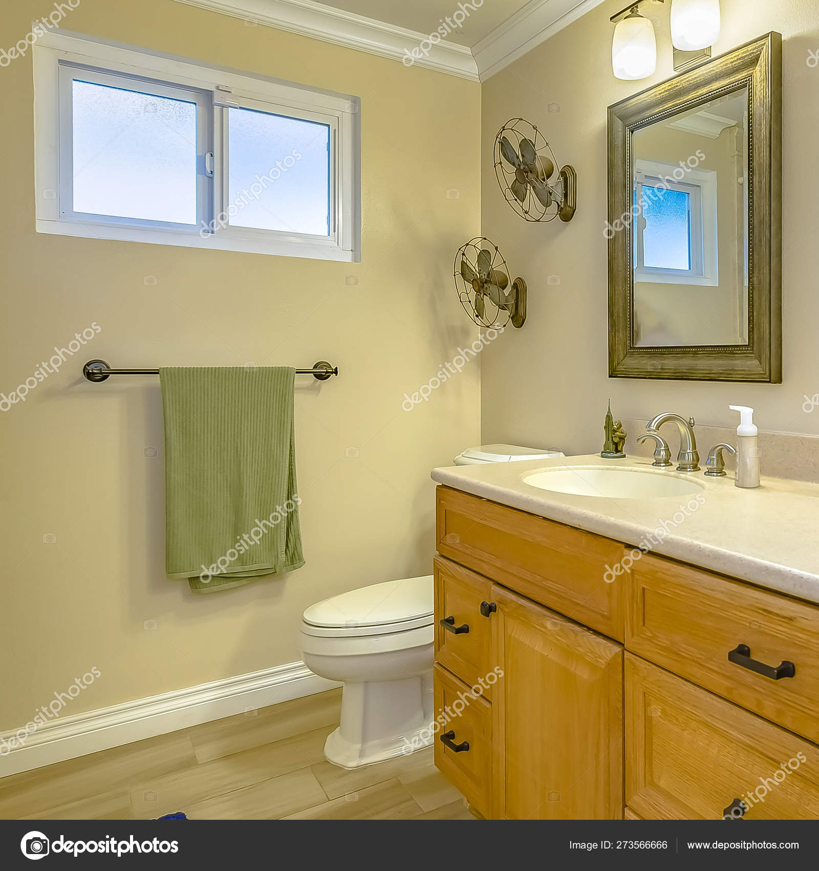 Square Double Vanity With Wooden Cabinets Inside A Bathroom With Small Window Stock Photo Image By Dropthepress Gmail Com 273566666