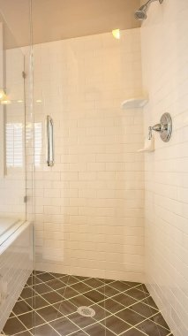 Vertical frame Built in bathtub and shower stall with glass door inside a bathroom