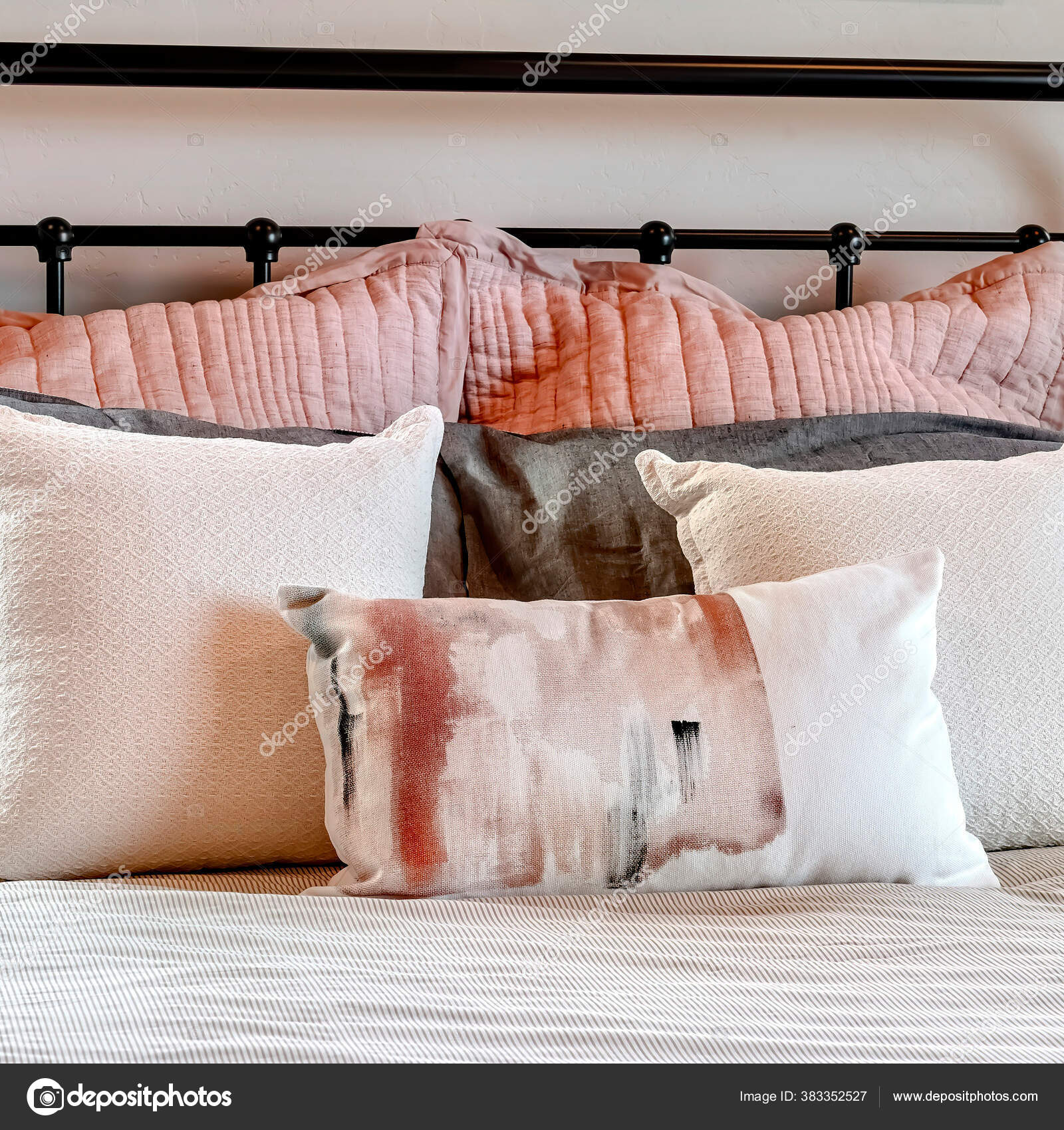 Square Frame Single Bed With Fluffy Pillows Against Black Metal Headboard Inside Bedroom Stock Photo C Dropthepress Gmail Com 383352527