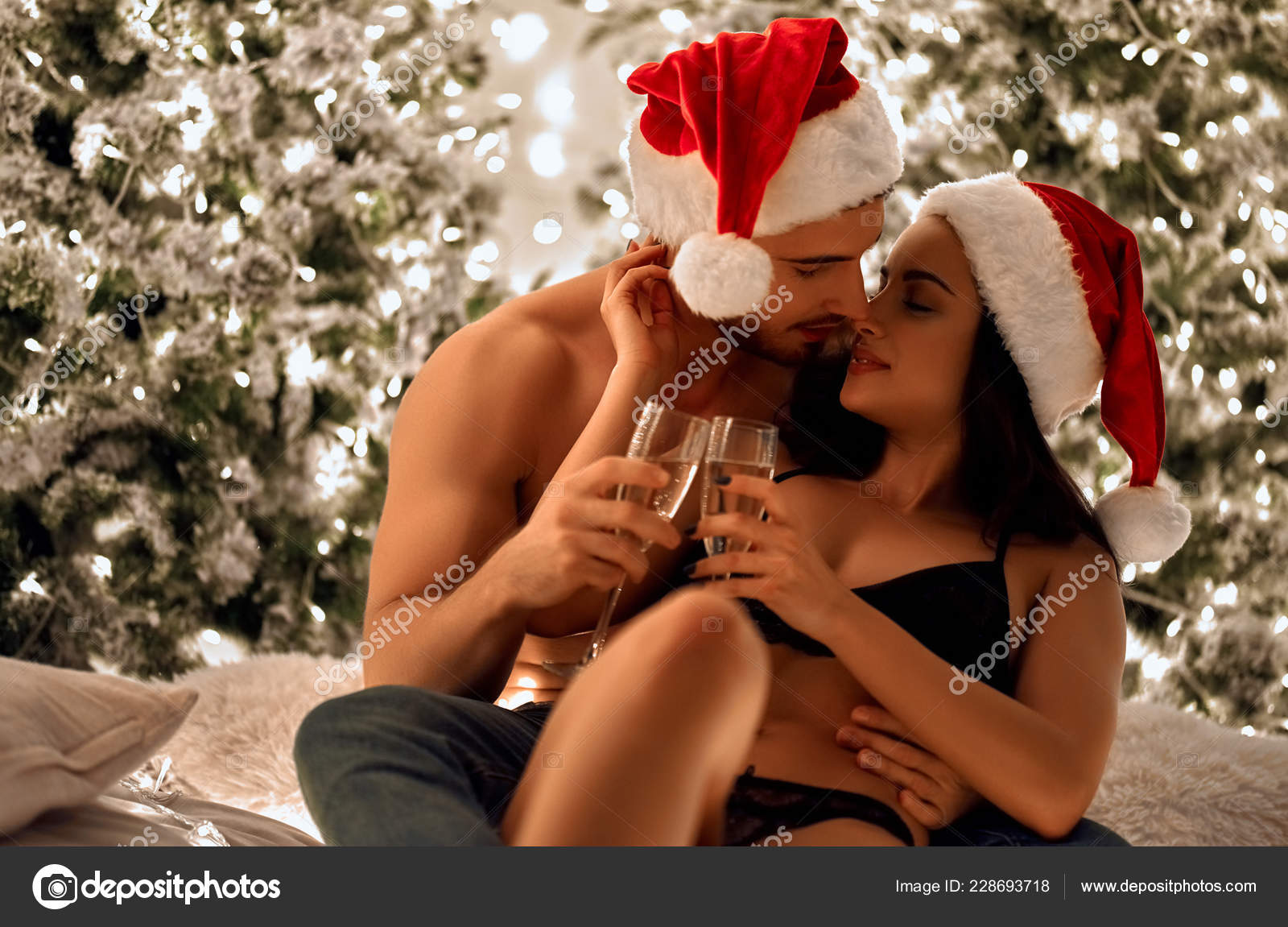 Merry Christmas Happy New Year Sexy Passionate Couple Celebrating