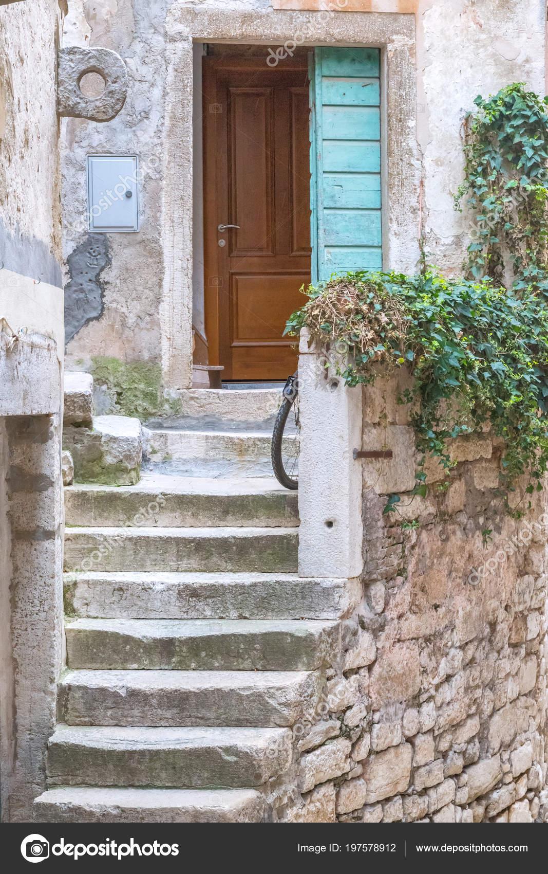 Escalier Pierre Porte Entrée Une Vieille Maison Rovinj Croatie