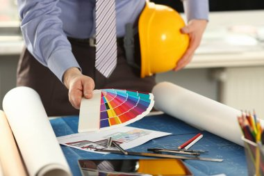 Architect Working on Graphic Design Color Swatch