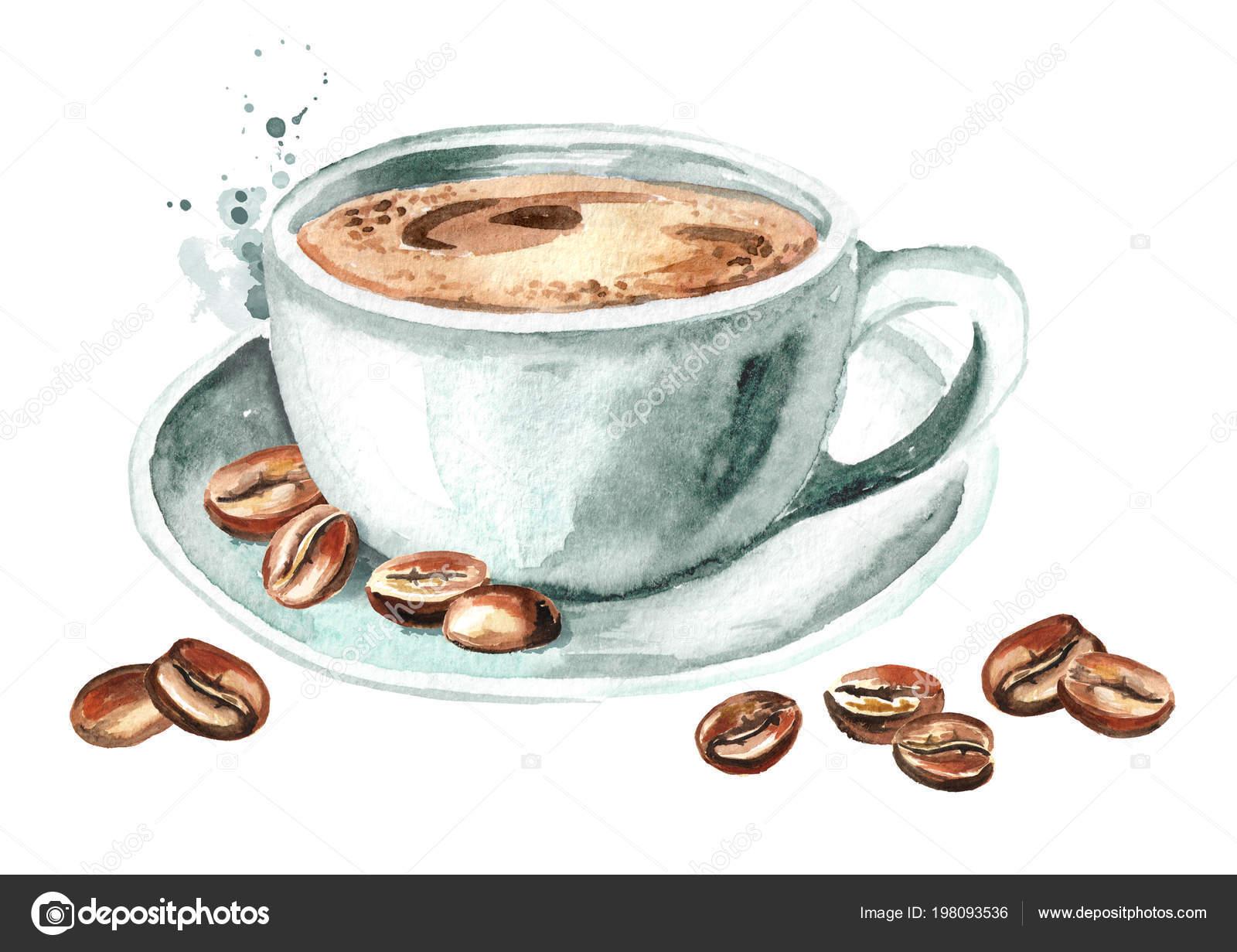 Fondo De Granos De Café Con Hojas De Acuarela Descargar