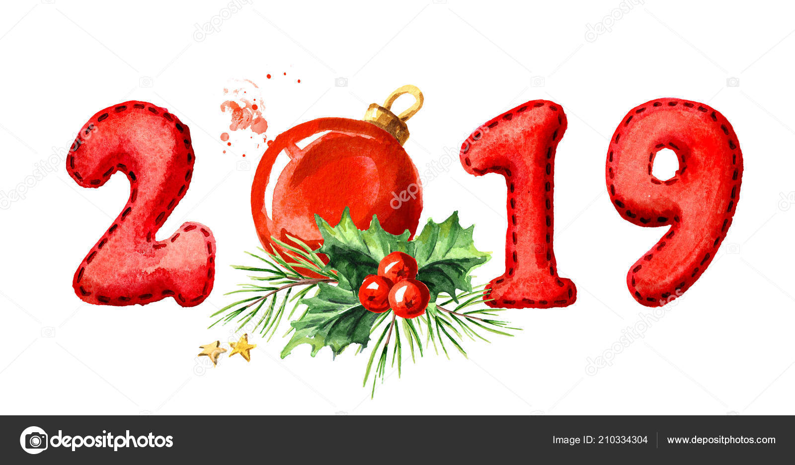 2019 happy new year banner fir branch red ball watercolor stock photo