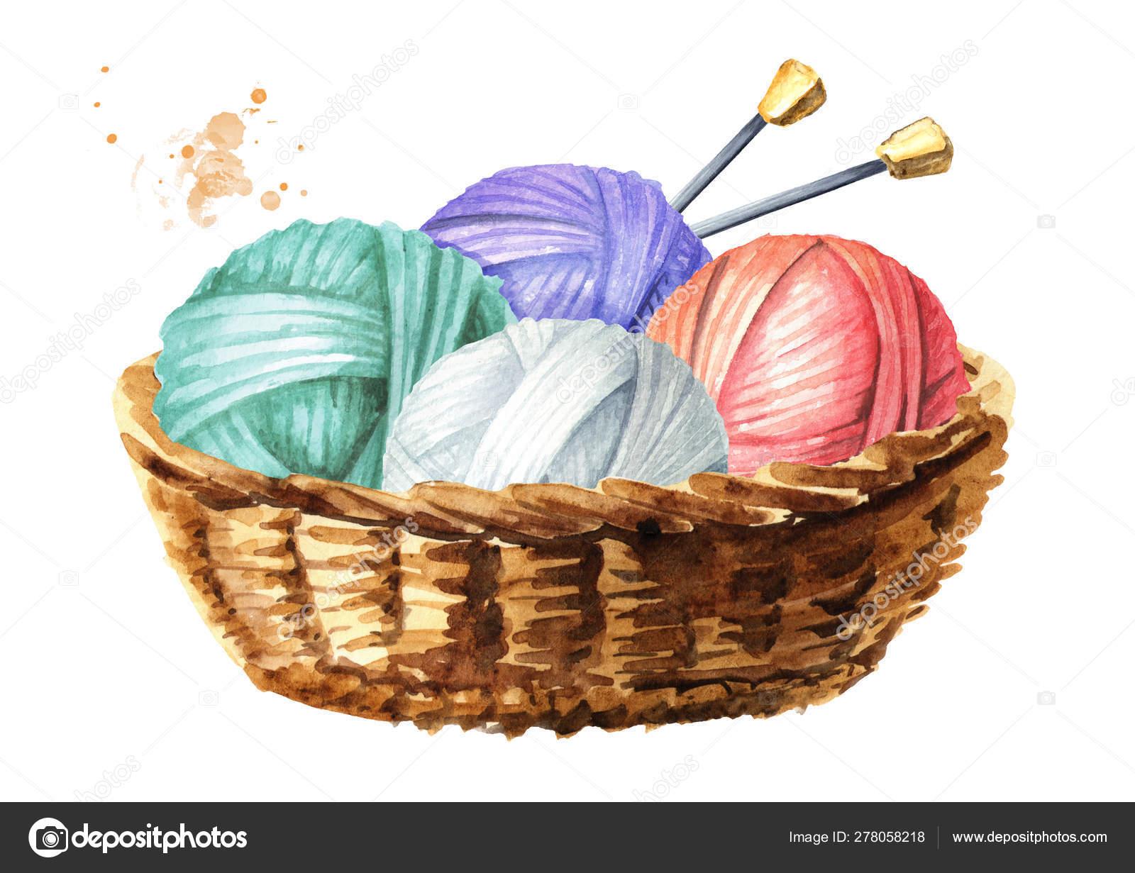 Knitting Needles Watercolor Hand Drawn