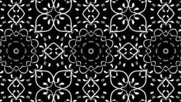 černá a bílá vlastní se květinový design s kaleidoskopický efekt. bezešvé smyčka