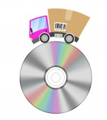 Delivery truck with cardboard box, music business