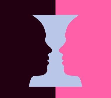 Narcissism mental disorder and Rubin vase, optical illusion, head girl