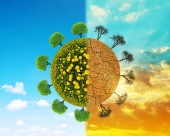 Üppig und trockenen Planeten mit Bäumen. Konzept der Änderung Klima oder die globale Erwärmung