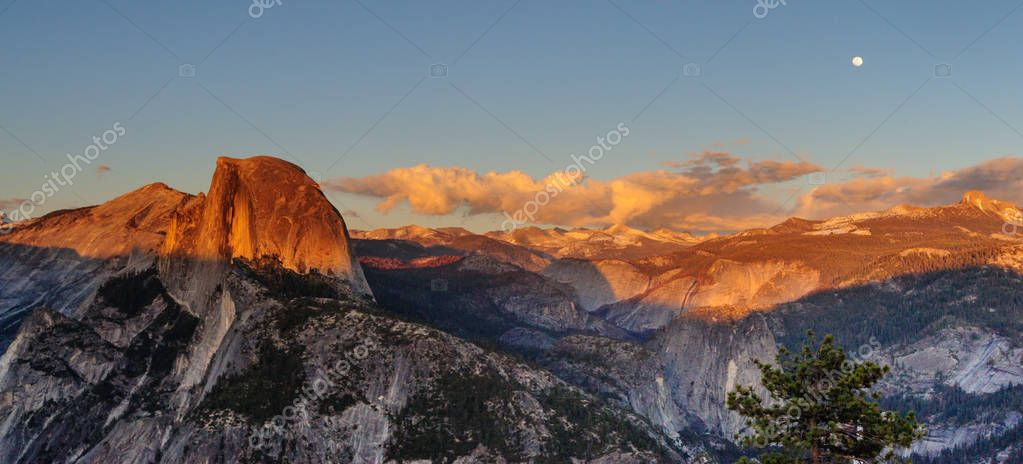 Panorama of Half Dome and Yosemite Valley at Sunset