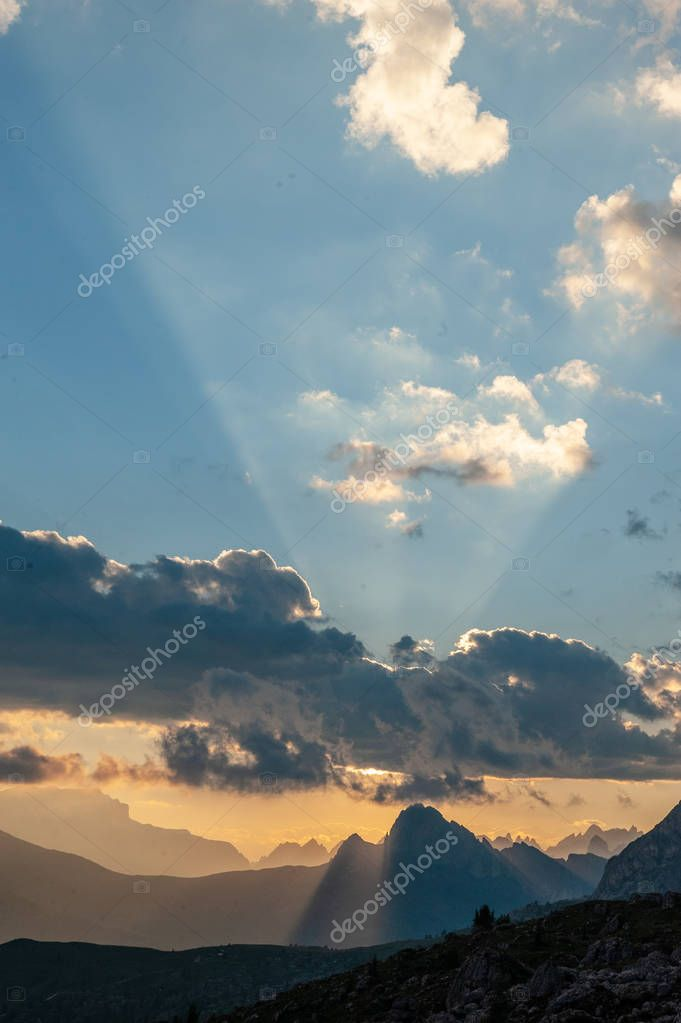 Sunset at the Passo di Giau, in the Italian Dolomites
