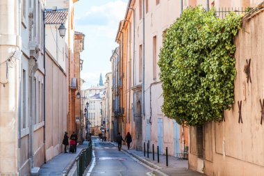 Aix-en-Provence, FRANCE, on March 8, 2018. Urban view typical for small towns of Provence. Bright sunny spring day