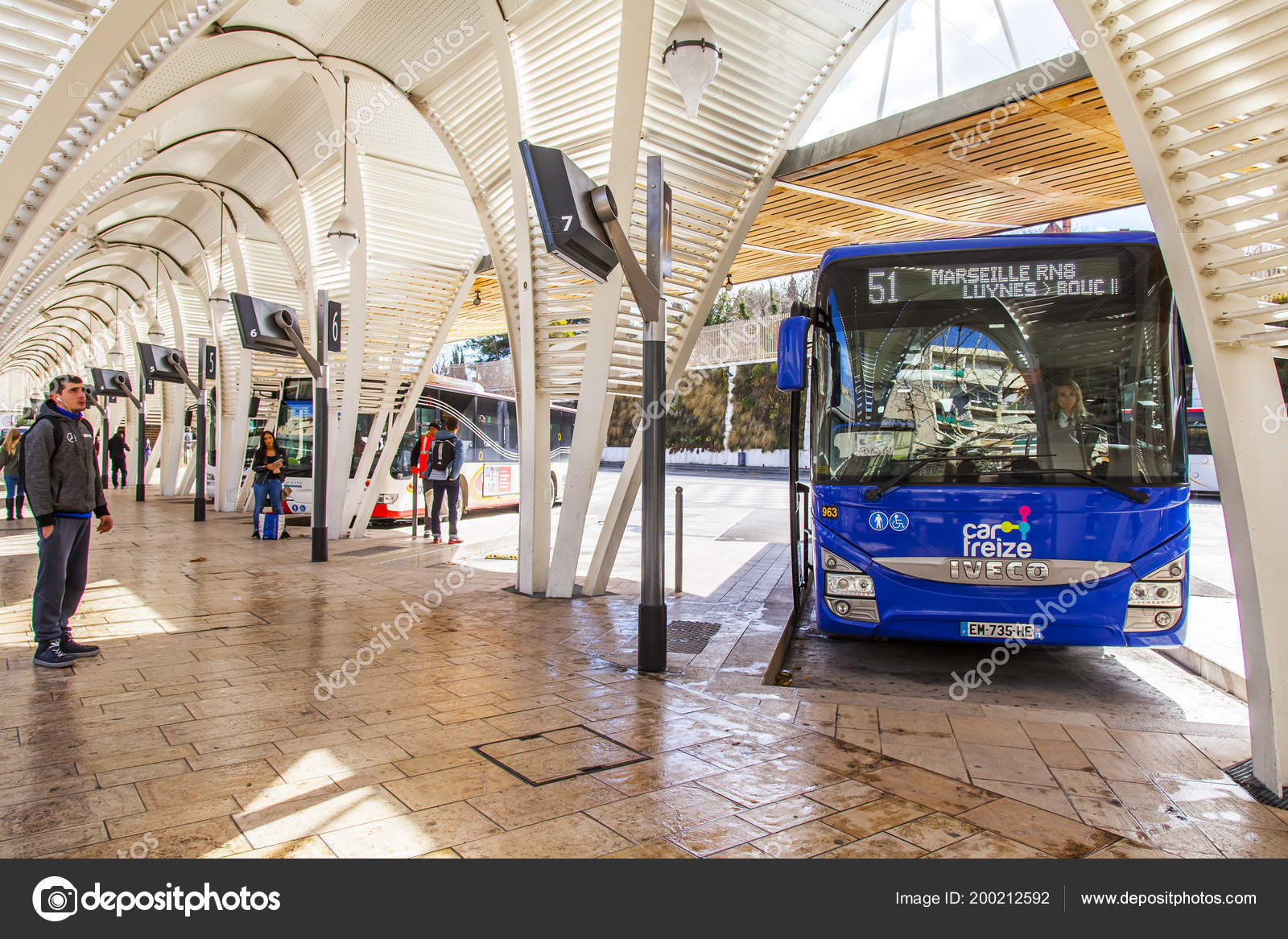 aix provence france march 2018 buses wait passengers city